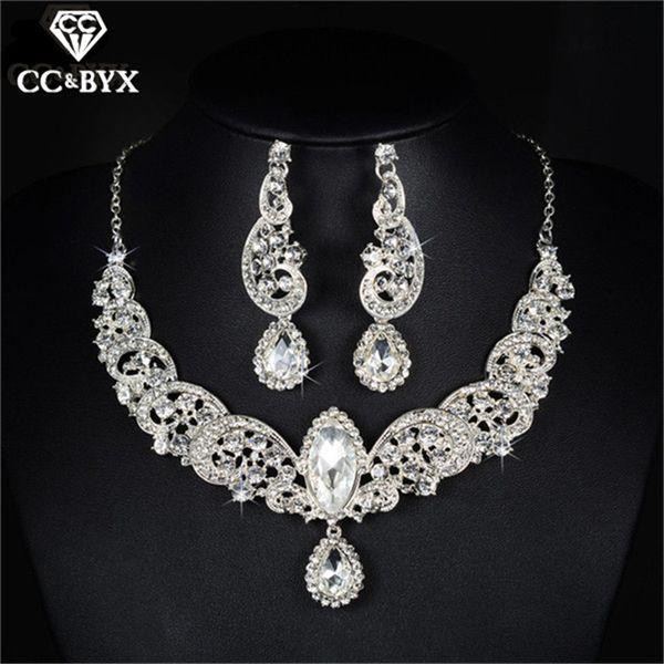 Beautiful Water Drop Fine CZ Necklace Earrings Sets for Women Bridal Jewelry Set Wedding Bijoux Femme Fashion Gift D021