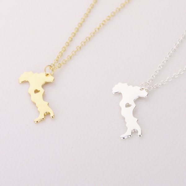 Sykesha 2018 New Fashion National Map of Italy Pendant Necklace Country Lovers Dainty Jewelry Italy Map Necklace