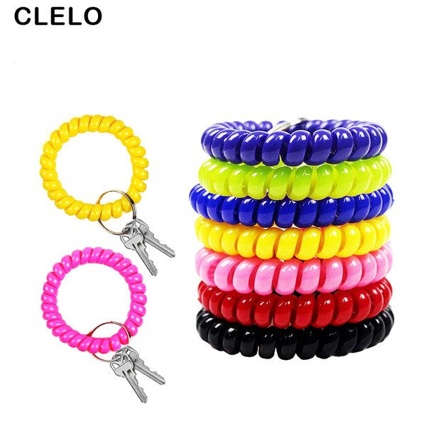 CLELO Key Holder Keychain Ring Organizer Multifunctional Key Wallet Tool Coil Spring Chains Cable Sauna Beach Keyring Bracelets