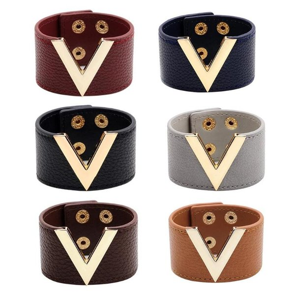 Leather Bracelet Men Women Jewelry Hand Chain Simple All-Match OL V Word Alloy Wide Leather Bracelet Bangle New Hand Jewelry