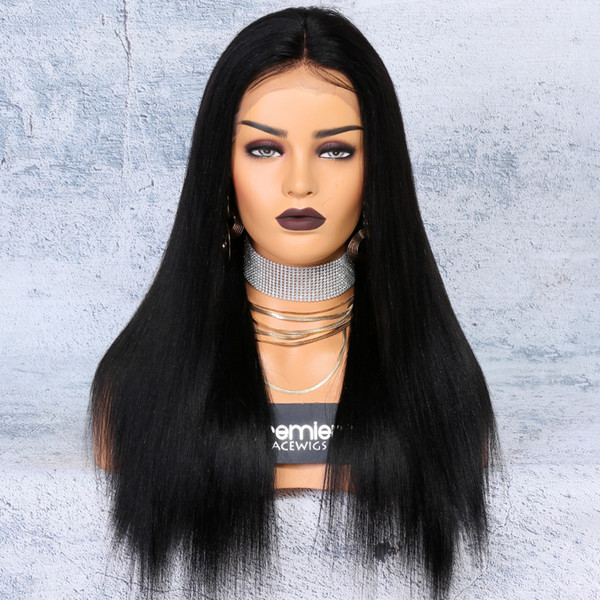 """8a Lace Front Wigs Brazilian Remy Human Hair Yaki Straight 250% Density 4.5"""" Deep Lace Part 12-24Inches Natural Hairline For American"""