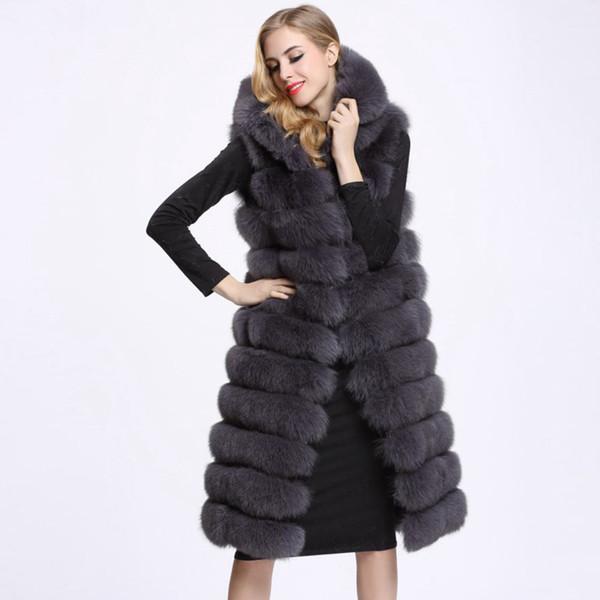 Kış Kadın Uzun Faux Kürk Yelek Yüksek Kalite 11 Hatları Kapşonlu Kadın Kürk Giyim Sıcak Dış Giyim
