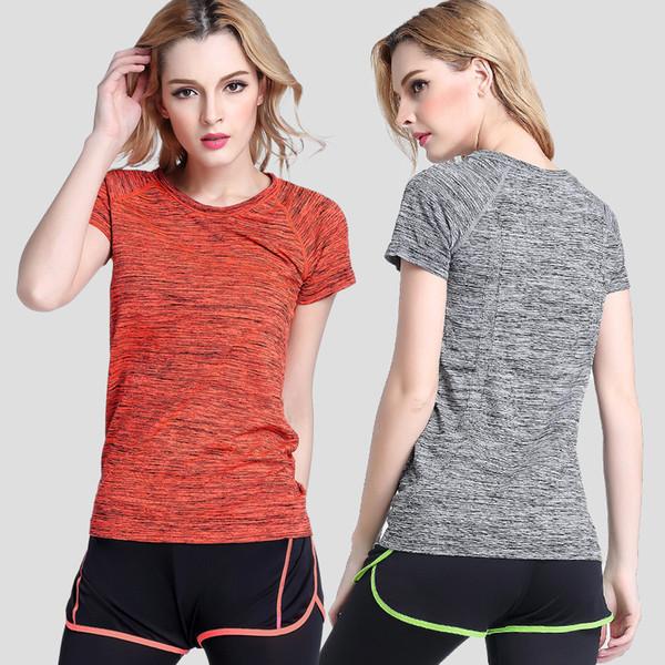 Moda de verano camiseta deportiva de manga corta sección femenina Dazzle-color suelta corriendo ropa de yoga ropa de fitness transpirable absorbente
