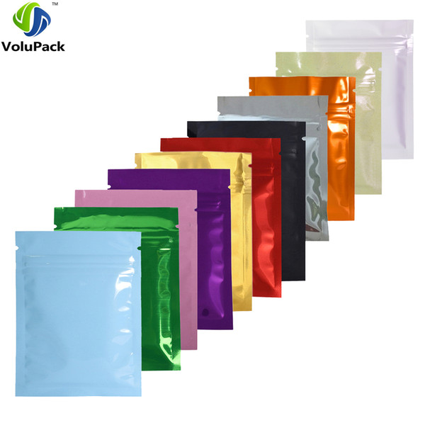 7.5x10cm/3x4in 100pcs/lot Glossy Colors Flat Gift Packing Bags Mini Zip Lock Aluminum Foil Mylar Retail Package Bag Pouch