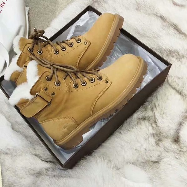 Winter Hot Sale Fashion Round Toe Ankle Boots Thick Wool Short Boots Short Tube Flat Bottom High Top Magic Belt Warm Martin Boot