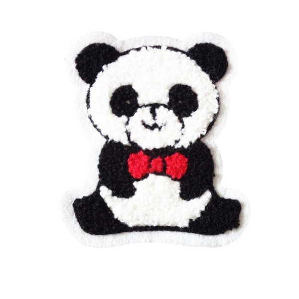 Terry cloth patch 8.6cm * 10cm Panda appliques sweater knitting overcoat hand sewing decorative patch Kids'clothing accessories DL_CPIA024