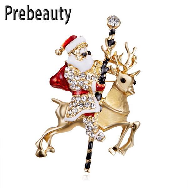 Prebeauty Enamel Santa Claus Christmas Brooch New Year Classic Style Antique Cartoon Brooch Epoxy Rhinestone Pin Christmas Gift