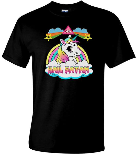 Yeni Dolu Şeytan Unicorn T-Shirt erkek Komedi Komik T-Shirt Komik ücretsiz kargo Unisex Rahat hediye