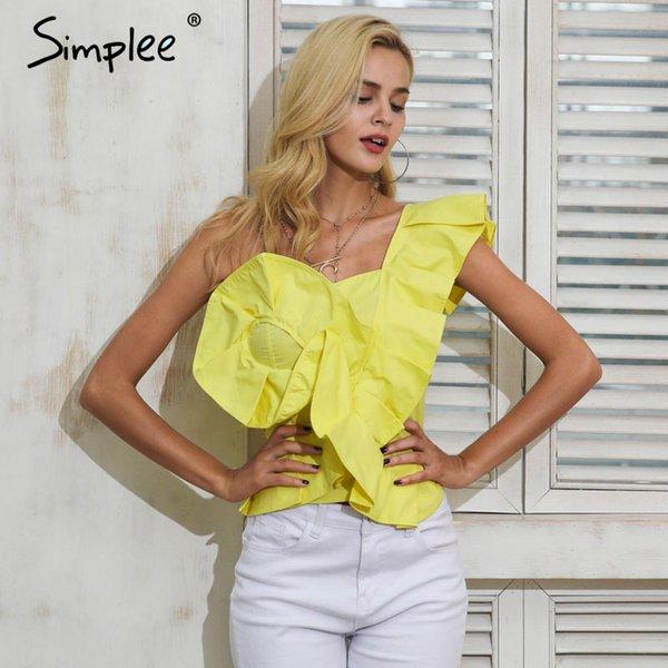 Simplee Une blouse à bandoulière femme tops été chemise jaune irrégulière chemisier chemise femme Blousons à glissière élégante volants