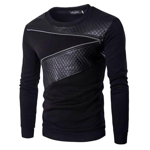 Wholesale-Leather Patchwork Hoodies Mens Ublique Zipper Decoration Sweatshirt Mens Casual Slim Coat Fashion Men's Clothes Hoodies ZW116
