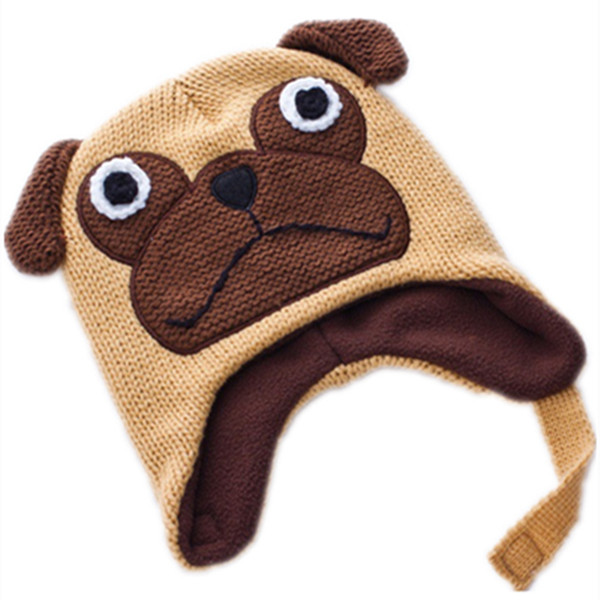 Cartoon cute Pug dog Bulldog wool Cotton knitting winter Warm plush hat kid baby Animals Soft Cosplay Cap Fleece Lining Beanies