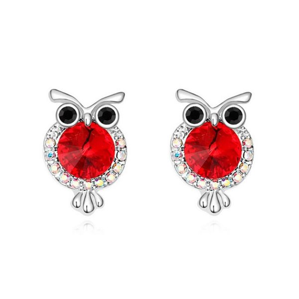 Fashion Jewelry Lovely Owl Earring Super Cute Stud Earrings Made With Crystal Element Round Crystal Earrings Free Shipping