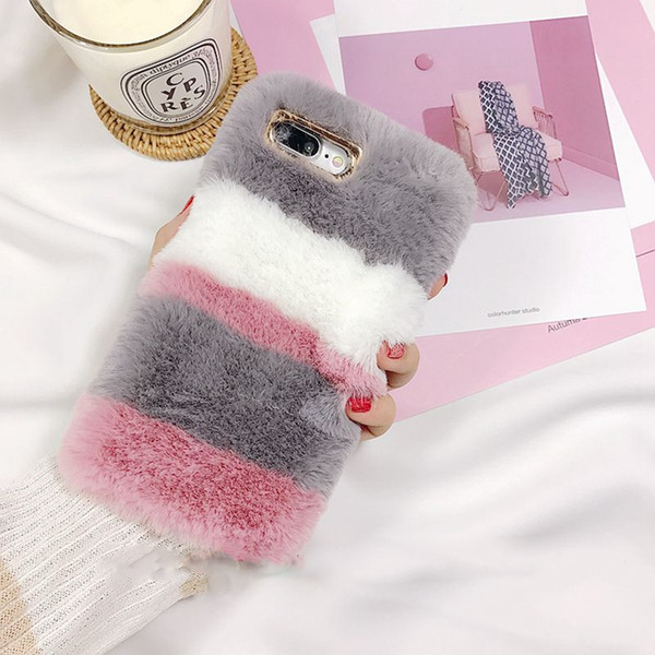 Free DHL Color Fluffy Rabbit Fur Silicon Phone Case For Apple iPhone X 6 6s 7 7plus 8