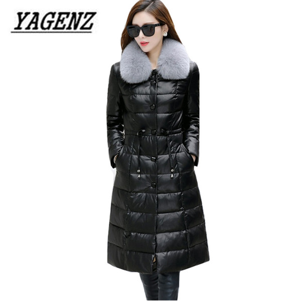 2017 Winter New Fox fur collar Down Jacket Coats High-end Slim Black Medium long Leather Jacket Warm Overcoat Large size M-5XL