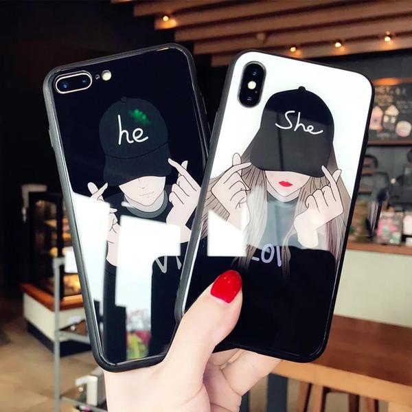 Personalità iPhonexsmax specchio della cassa del telefono Giappone e Corea del Sud Apple6S Plus amanti X Tide 8 Plus Moon San Valentino cool trend fas