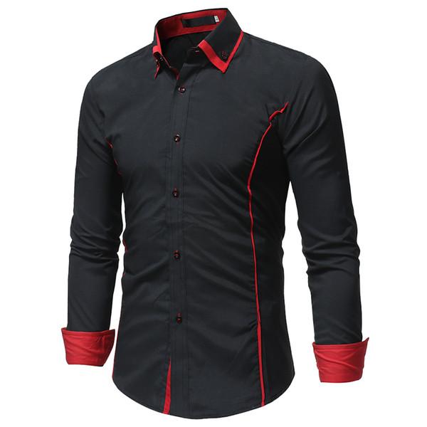 2018 modemarke camisa masculina langarm-shirt männer koreanische dünne doppelkragen design casual dress shirt plus größe schwarz