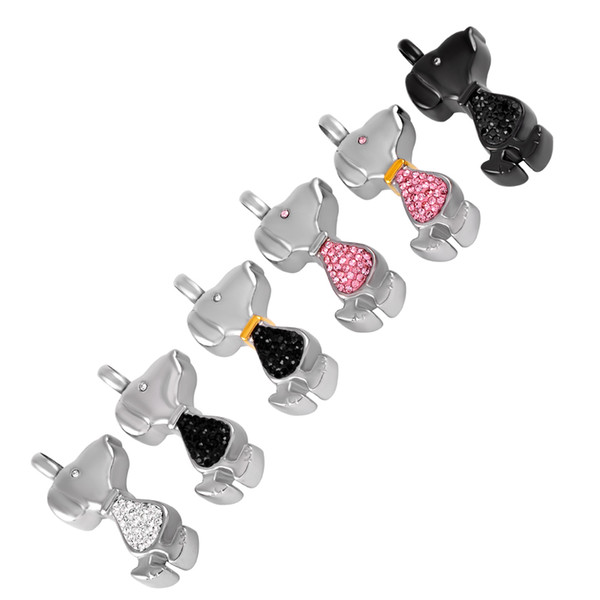 ijd9268 dog cremation jewelry inlay crystal memorial urn pendant stainless steel snoopy shape keepsake necklace for pet funeral jewelry