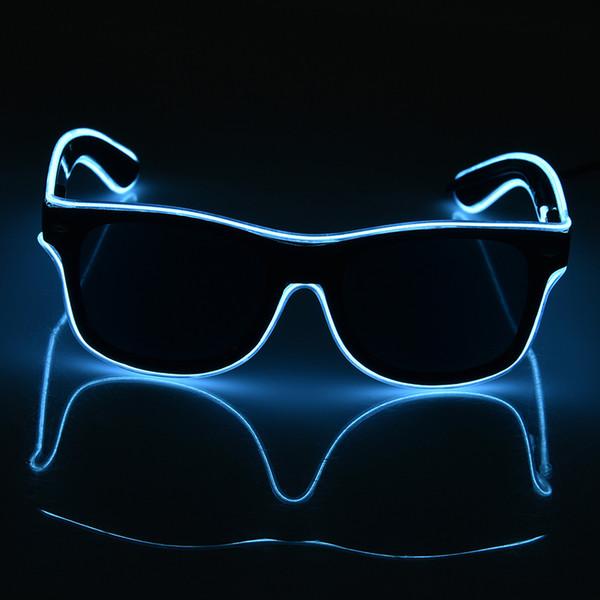 Standard Black lens Luminous LED Glasses EL Wire Fashion Neon LED Cold Light Glasses Glow Activing DJ Bright Glasses Props