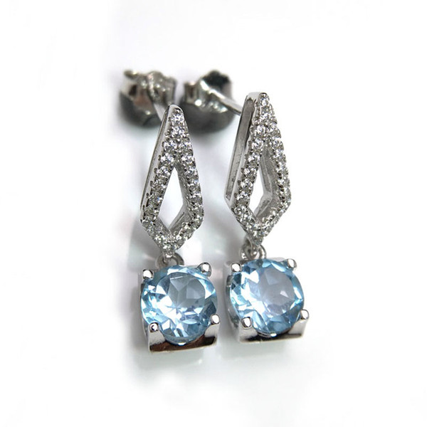 Rosalie,100% natural 2ct Brazil blue topaz natural gemstone stud earring in 925 sterling silver for girls with jewelry gift box