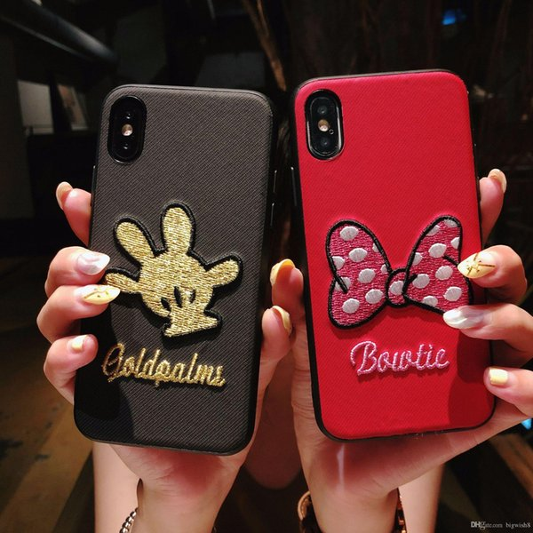 Cheap price Good HOT sell Cute bowknot and animal phone case for iphone 6 7 8 plus x red phone cover for girl boy Support customization