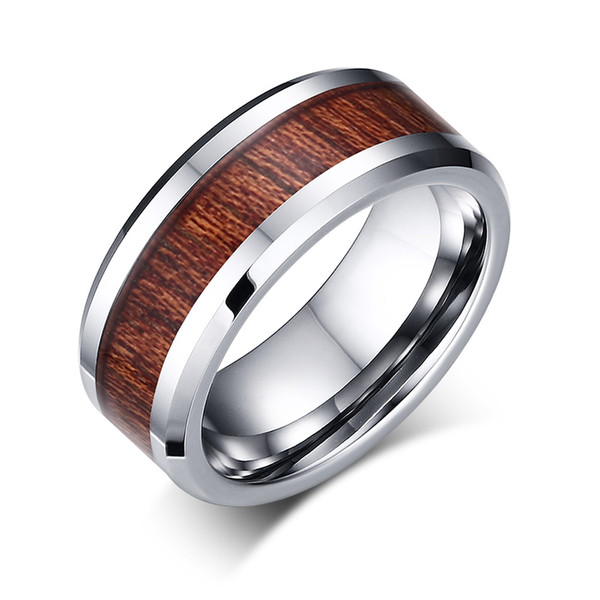 2019 8mm High Polished Tungsten Carbide Ring With Koa Wood Veneer Inlay Beveled Edges Wedding Ring For Men Size 7 12 From Metalking Jewelry 5 02