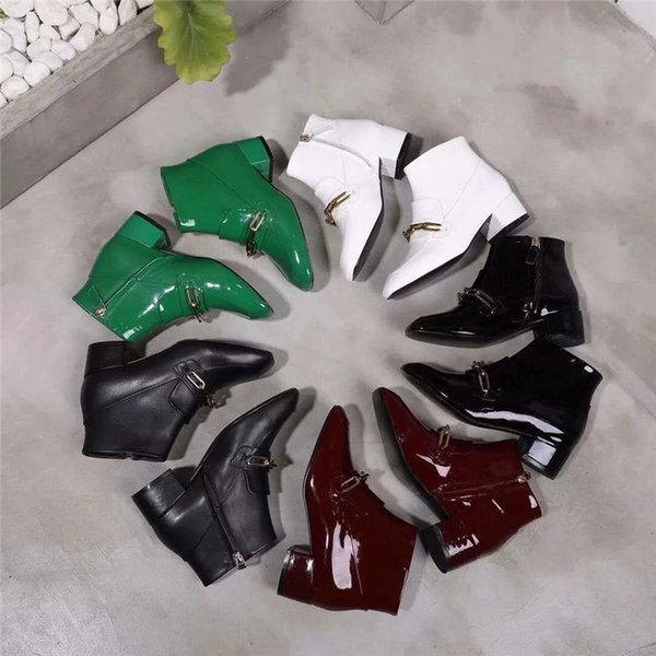 2018 Patent Leather Women Ankle Boots Short Designer Fashion Chain Brand Booties Shoes Round Toe Ladies Western Shoes High Quality A825