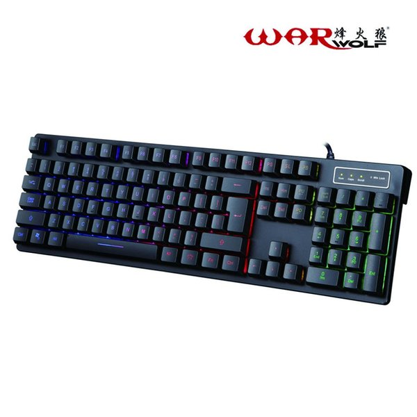 Professional Wired Mechanical Keyboard 104 Keys Gaming For Computer Games With 3 Colors Change Backlight