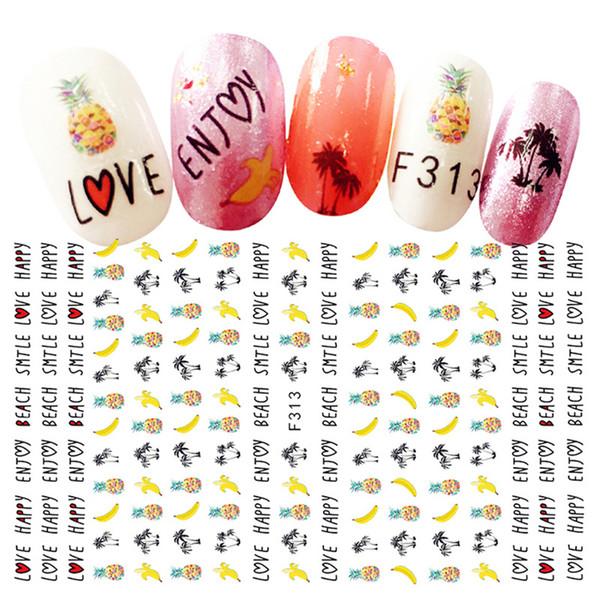 2Sheets Tropical Pineapple Thin Nail Art Stickers Kawaii Self-adhesive Bananas Fruits Decals Enthusiastic Summer Decorations Diy