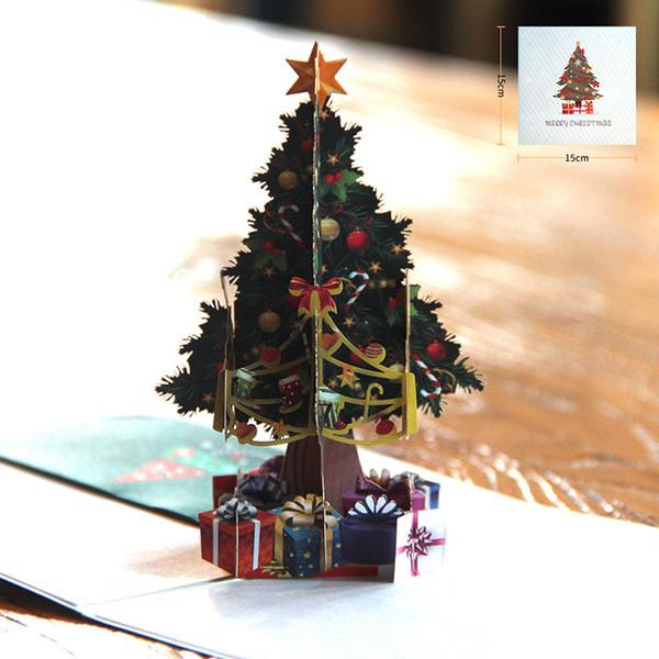 Compre Envío Gratis 30 Unids Venta Al Por Mayor Laser Cut 3d Creativo Impresión En Color Tarjeta De Felicitación Del árbol De Navidad De Regalo