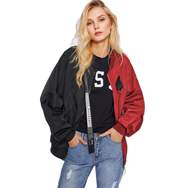 Patchwork Casual Bomber Jacket Color Block Women Two Tone Patch Back Autumn Basic 2018 New Letter Ribbon Zip Up Jacket
