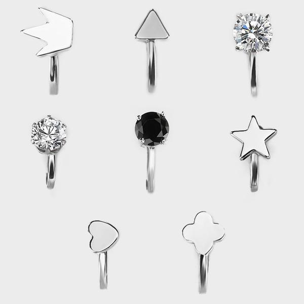 Geometric earrings for women silver plated copper triangle love crown star simple earring ear clip