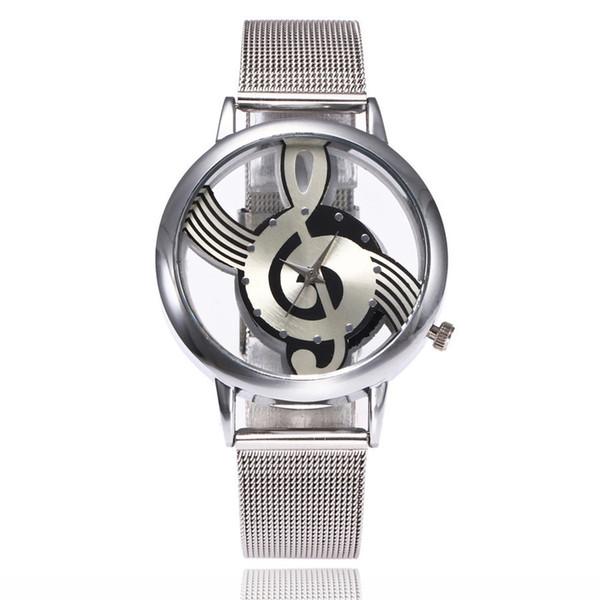 Nueva Marca Fashion Hollow Music Note Notation reloj de pulsera de cuarzo de acero inoxidable para hombres mujeres Silver Mesh Relojes