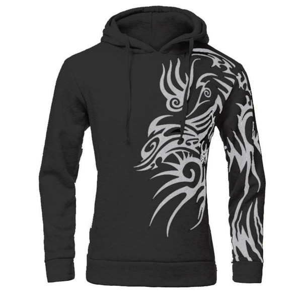 Wholesale-NEW Mens Fashion Hooded Tattoo Dragon Printed Pullover Sweatshirts Fleece Casual Coat