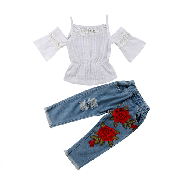 Vestiti estivi per bambini Bambini Neonata con spalle scoperte T-shirt in pizzo + Jeans strappati con fiori Pantaloni in denim 2 pezzi Set di abbigliamento di moda