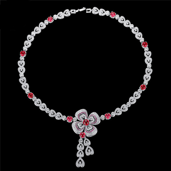 Heart Necklace For Women 2019 Fashion Bow Ties Pendant Necklaces CZ Diamond Brand Jewelry Female Sweater Chain Long Necklace