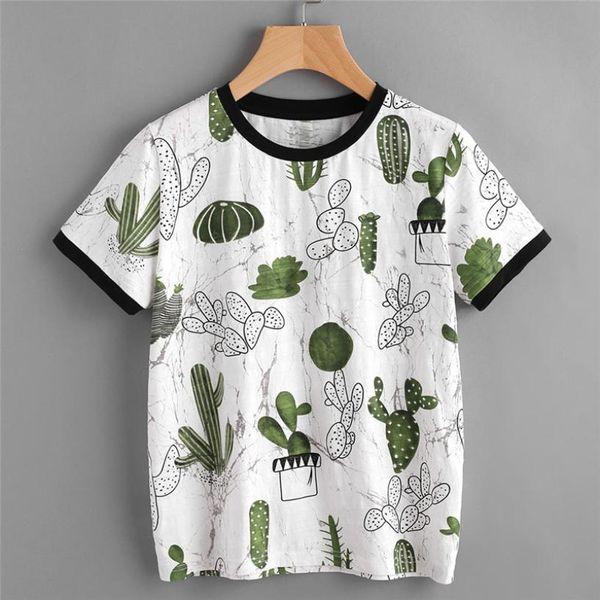 Printed Cactus Tshirt Women Summer Short Sleeve Printed T-shirt Harajuku Fashion Korean Clothes Camisetas Femininas#121
