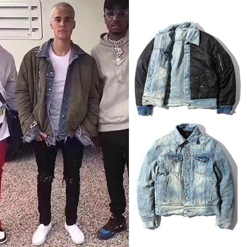 Men's Winter Reversible Jacket Coat Justin Bieber Fear Of God Ripped Denim Biker Jackets Men Women Hip Hop Street Wear Outerwear BFSH1005