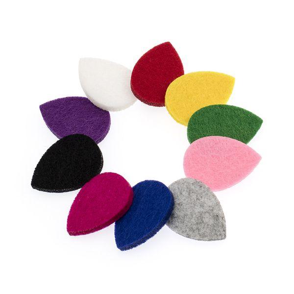 20 unids 10 colores forma de gota de agua almohadillas de fieltro aptas para gota de agua 30 mm aceite esencial difusor de aromaterapia Locket de color al azar