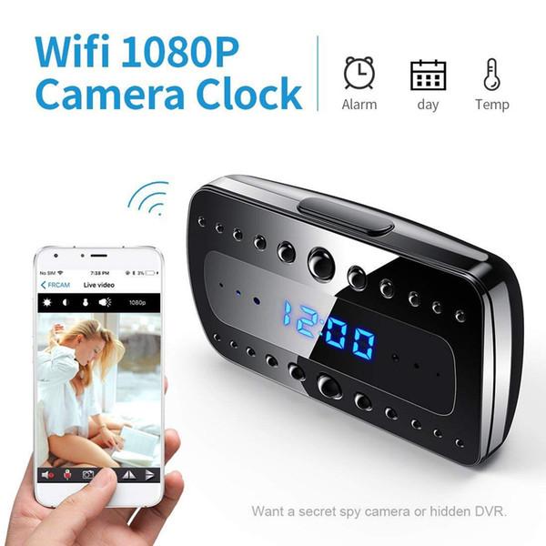 Kablosuz Mini Kamera Çalar Saat Kamera 1080 P Wifi Kameralar Ev Gözetim Kameraları Gece Görüş / Hareket Algılama Video Kaydedici IP Kamera