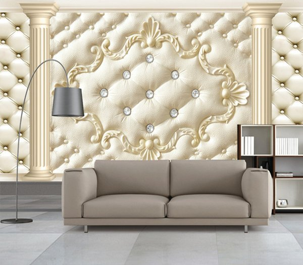 European Style Roman Column Soft Pack 3D Stereoscopic Custom Mural Wallpaper Living Room Sofa Non-woven TV Backdrop Wallpaper