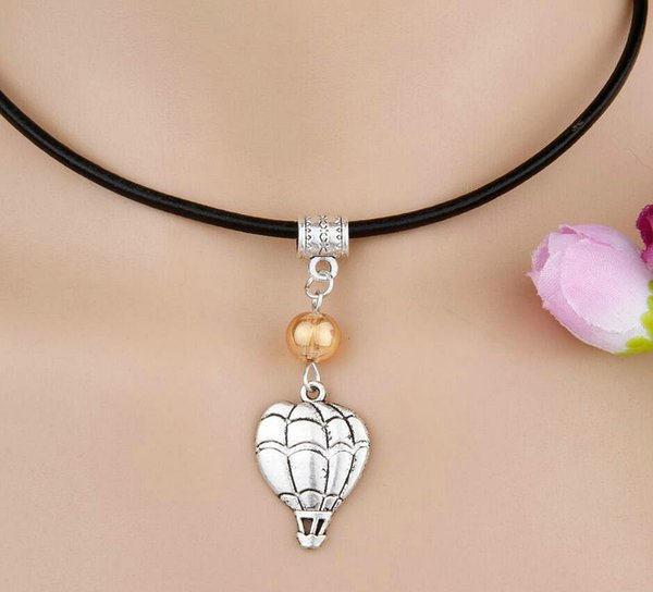 10pcs/lot Zinc Alloy Antique Silver Hot Air Balloon&Multi Bead Charm Pendant Popular Leather Rope Necklace Jewelry For Women Holiday Gift