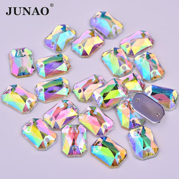 JUNAO 8*10mm Sewing Crystal AB Rhinestones Rectangular Crystal Stones Flat Back Acrylic Gems Sew On Strass Beads For DIY Crafts