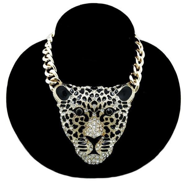 Exaggerated creative animal head pendant necklace gold silver plated Hip-hop rap style pendant necklace crystal jewelry wholesale