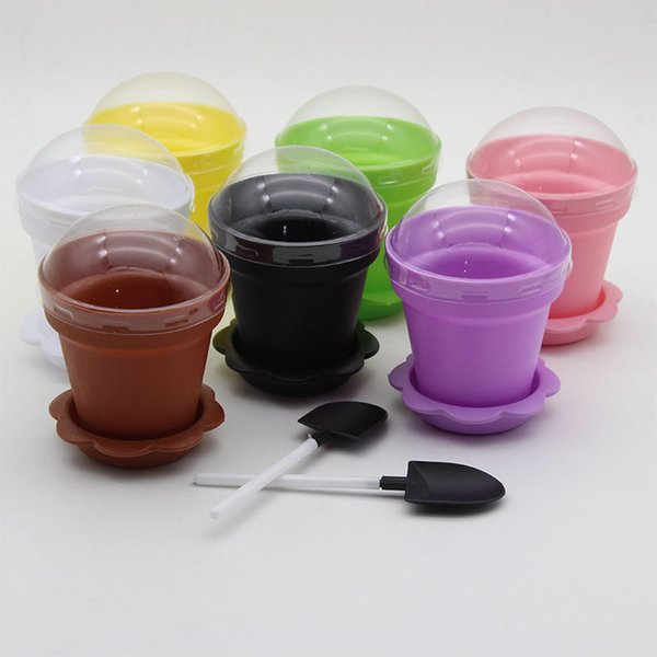 100set/lot Flower Bonsai Cupcakes Cup Cake Baking Muffins Potted Pot Design Ice Cream Mousse Holder With Spoon And Lid ZA4389