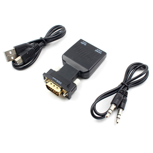 VGA to HDMI Adapter Connector Cable Male to Female 15Pin VGA Gold-Plated Converter to HDMI Type A for Notebook TV Projector