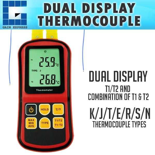 THE-32 Digital K J T E R S N Type Thermocouple Thermometer Dual-channel LCD Display -150~1767°C ATC Meter