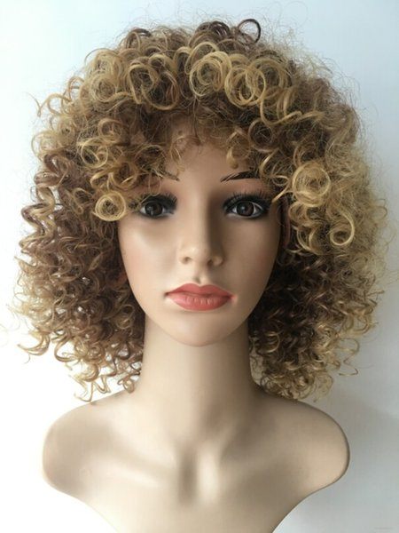 High quality 14inch Heat Resistant Synthetic African American Short Wig Brown Highlights Afro Curly Wigs For Black Women