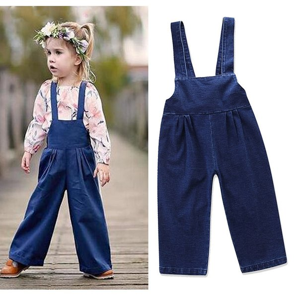 Baby Girl Overalls Jeans Vintage Retro Elastic Waist Leather Belt Solid Braces Bowknot Straight Tube Soft Spring Autumn Ruffle 1-6T