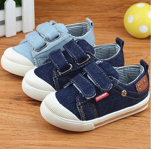 2018 Tuval Çocuk Ayakkabıları Spor Nefes Erkek Sneakers Marka Çocuklar Kızlar için Ayakkabı Kot Denim Rahat Çocuk Düz Tuval ayakkabı