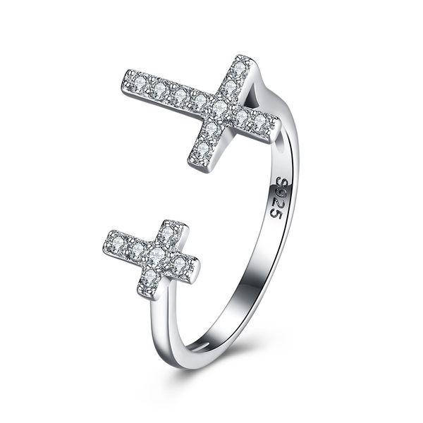 bague argent double croix